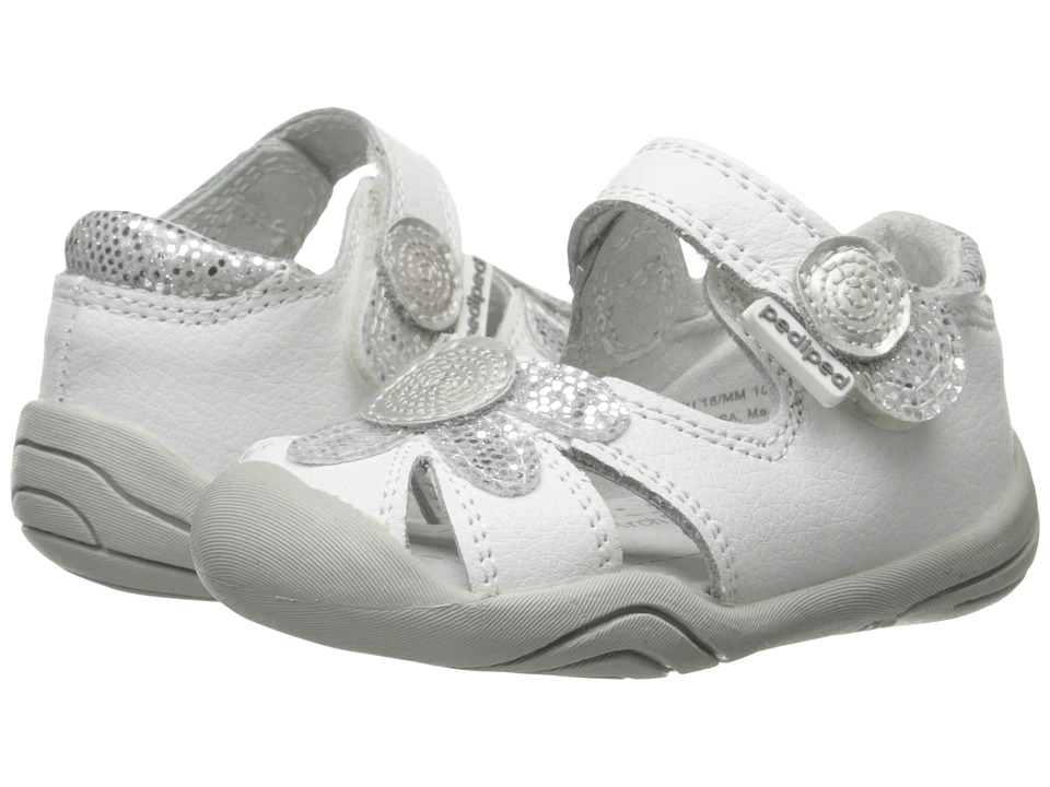 pediped - Daisy Grip n Go (Infant/Toddler) (White/Silver) Girls Shoes