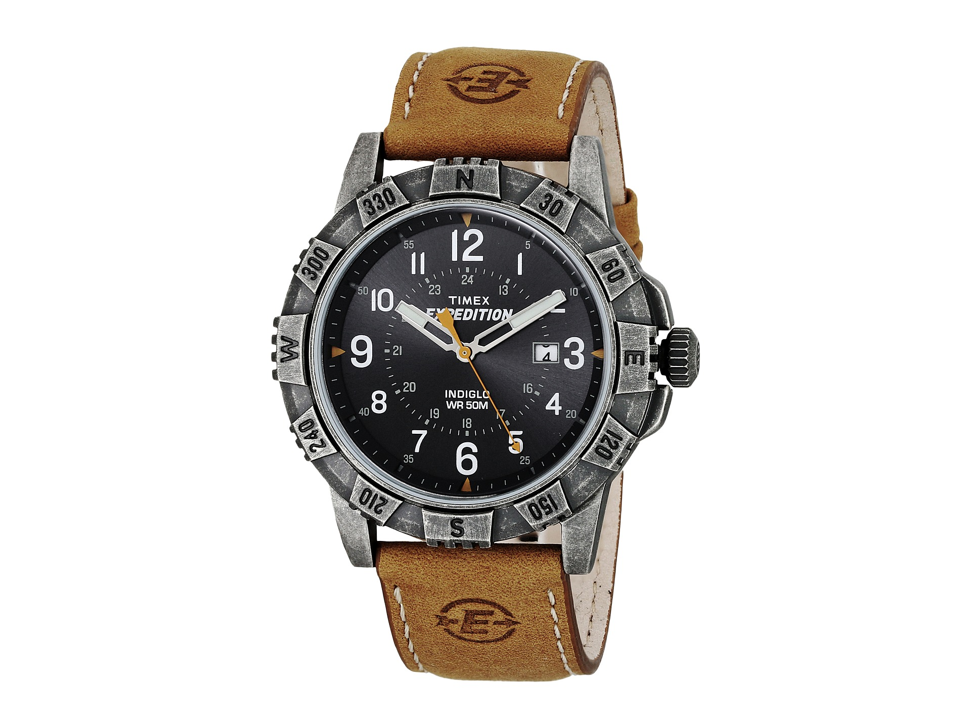 timex expedition rugged leather strap watch