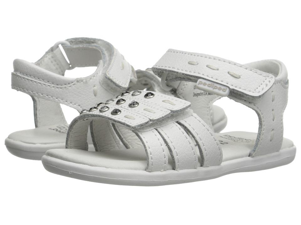 pediped Lynn Flex (Toddler/Little Kid) (White) Girls Shoes