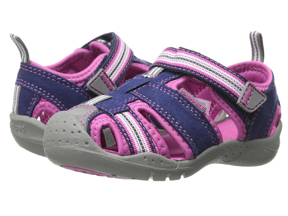 pediped Sahara Flex (Toddler/Little Kid) (Navy/Pink) Girl's Shoes