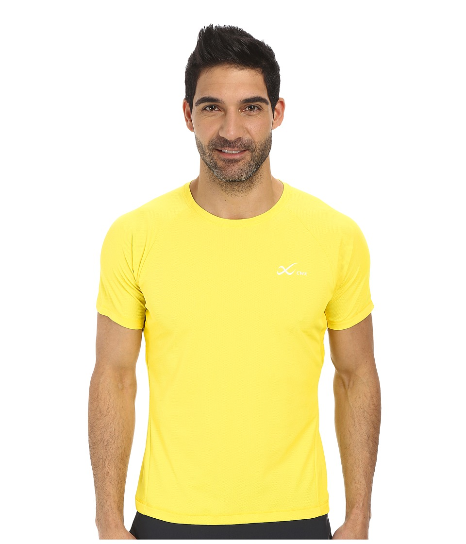 CW X S/S Ventilator Mesh Top Yellow Mens Short Sleeve Pullover
