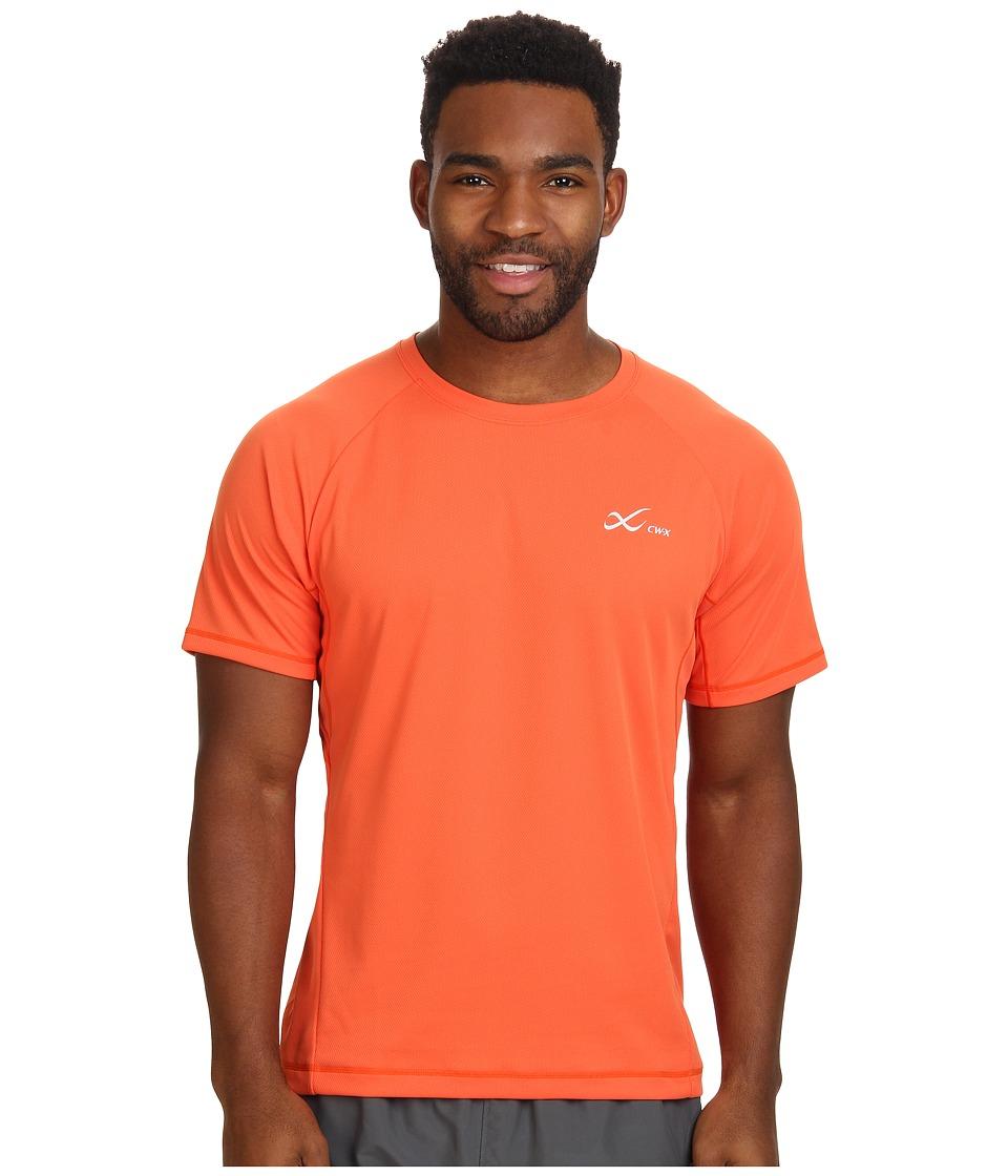 CW X S/S Ventilator Mesh Top Orange Mens Short Sleeve Pullover