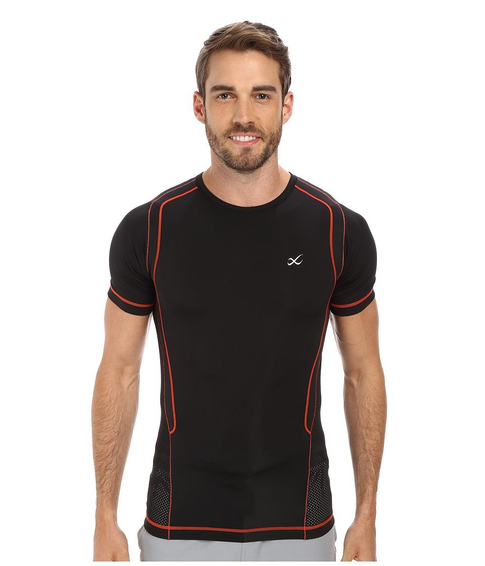 CW X S/S Ventilator Web Top Black/Orange Mens Short Sleeve Pullover