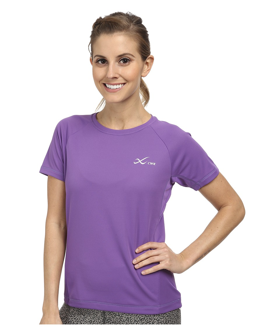 CW X S/S Ventilator Mesh Top Purple Womens Short Sleeve Pullover