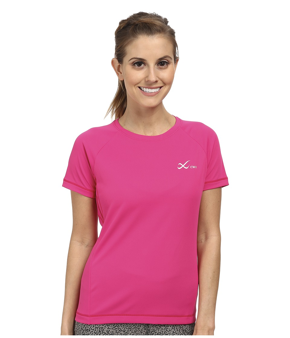 CW X S/S Ventilator Mesh Top Pink Womens Short Sleeve Pullover