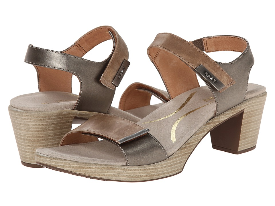 Naot Footwear - Intact (Khaki Beige Leather/Pewter Leather/Mirror Leather) Women