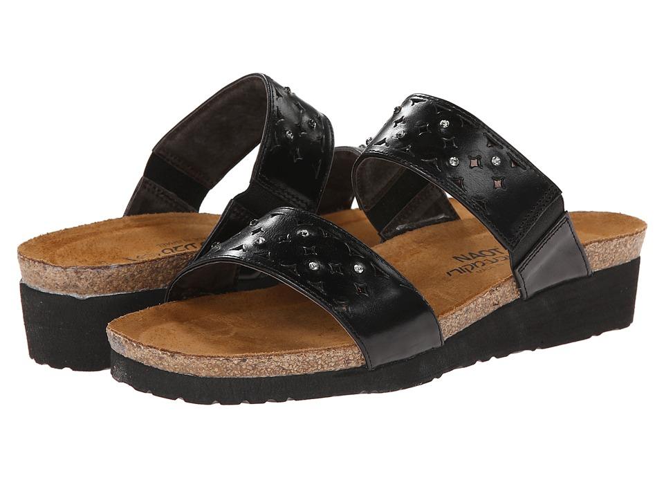Naot Susan (Black Madras Leather/Glass Brown) Slides