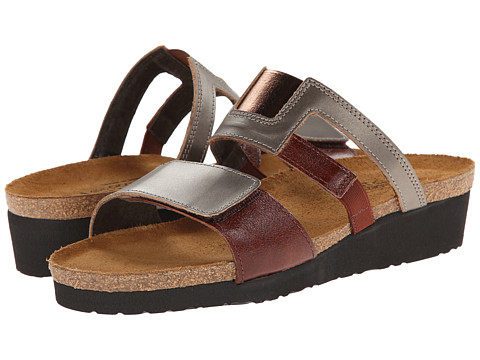 Naot Footwear Nancy - Pewter Leather/Luggage Brown Leather