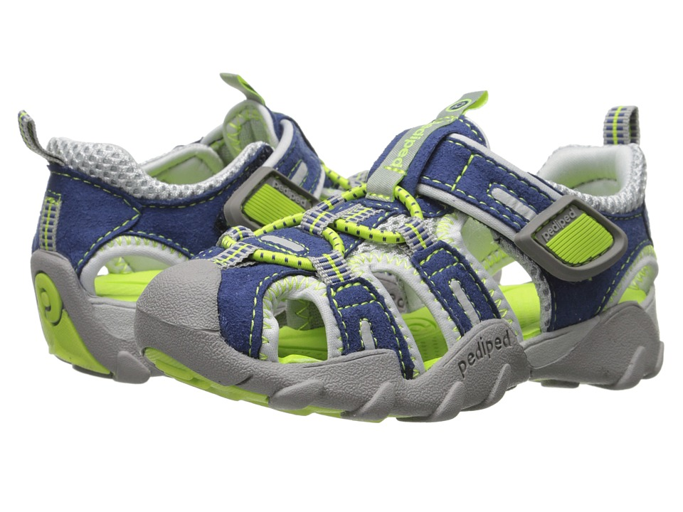pediped Canyon Flex (Toddler/Little Kid) (Navy/Lime) Boy's Shoes