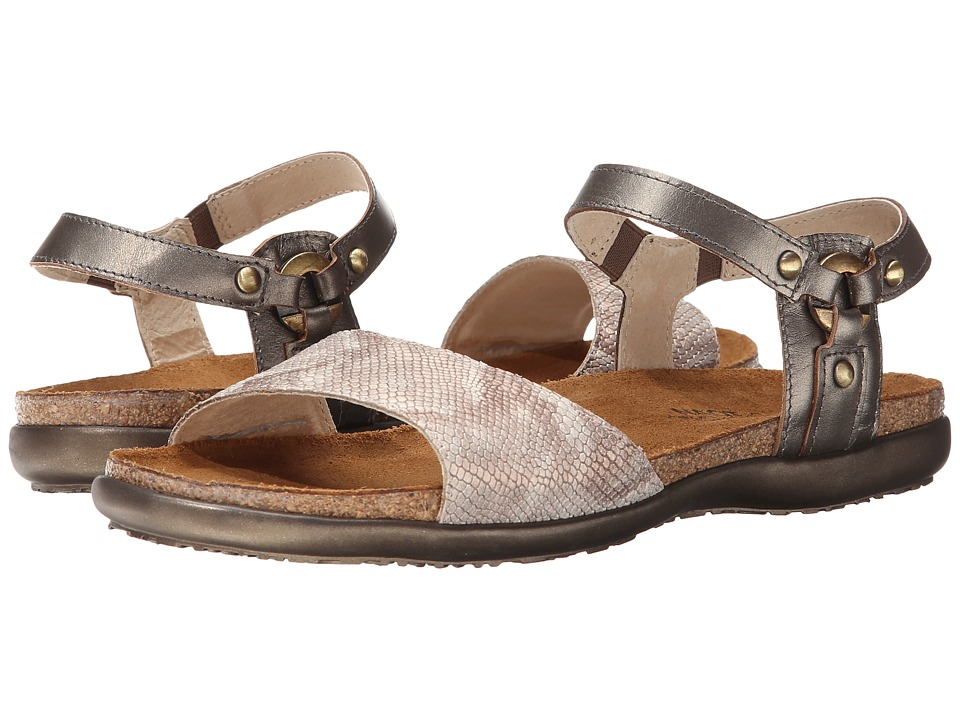 Naot - Sabrina (Snake Beige Leather/Pewter Leather) Womens  Shoes