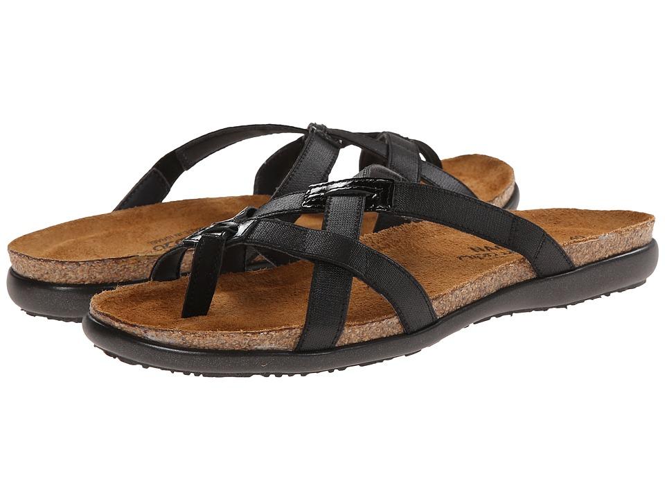 Naot Footwear Audrey Black Patent Leather/Black Velvet Nubuck Womens Shoes