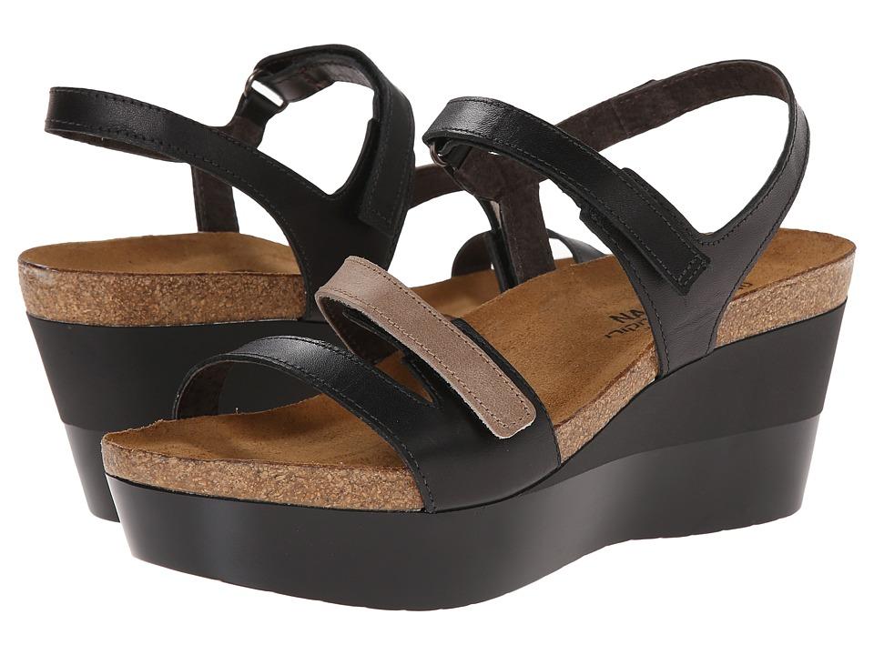 Naot Footwear - Canaan (Black Raven Leather/Khaki Beige Leather) Women