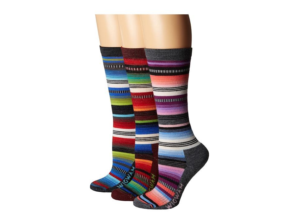 Wigwam Taos 3 pack Charcoal/Black/Merlot Crew Cut Socks Shoes