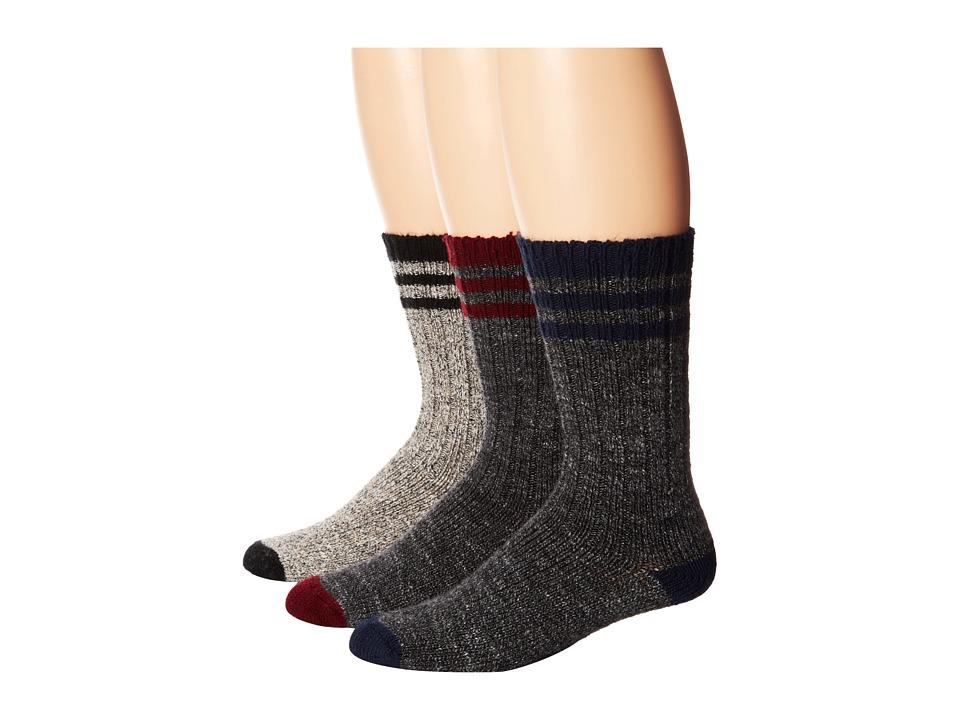 Wigwam Pine Lodge 3 pack Natural/Black/Charcoal/Burgendy/Charcoal/ Navy Crew Cut Socks Shoes