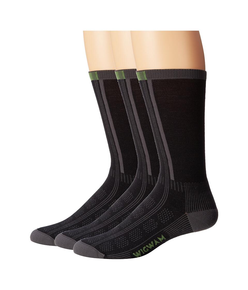 Wigwam Rebel Fusion Crew II 3 pack Black Crew Cut Socks Shoes