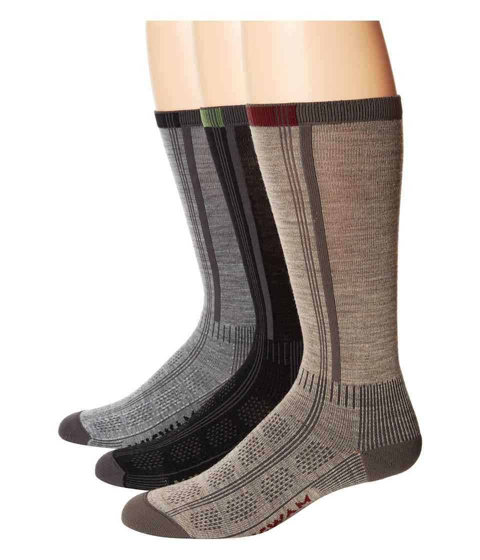 Wigwam Rebel Fusion Crew II 3 pack Black/Grey/Khaki Crew Cut Socks Shoes