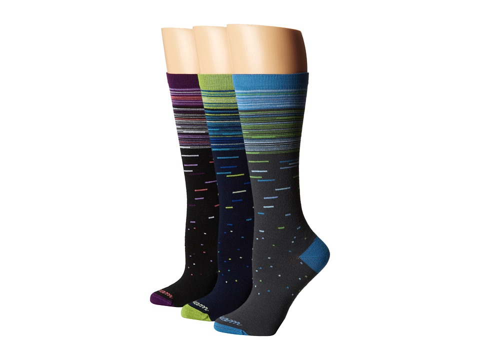 Wigwam Aurora 3 pack Black/Charcoal/Navy Womens Crew Cut Socks Shoes