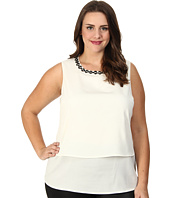 Calvin Klein Plus - Plus Size Double Layer Top w/ Beads