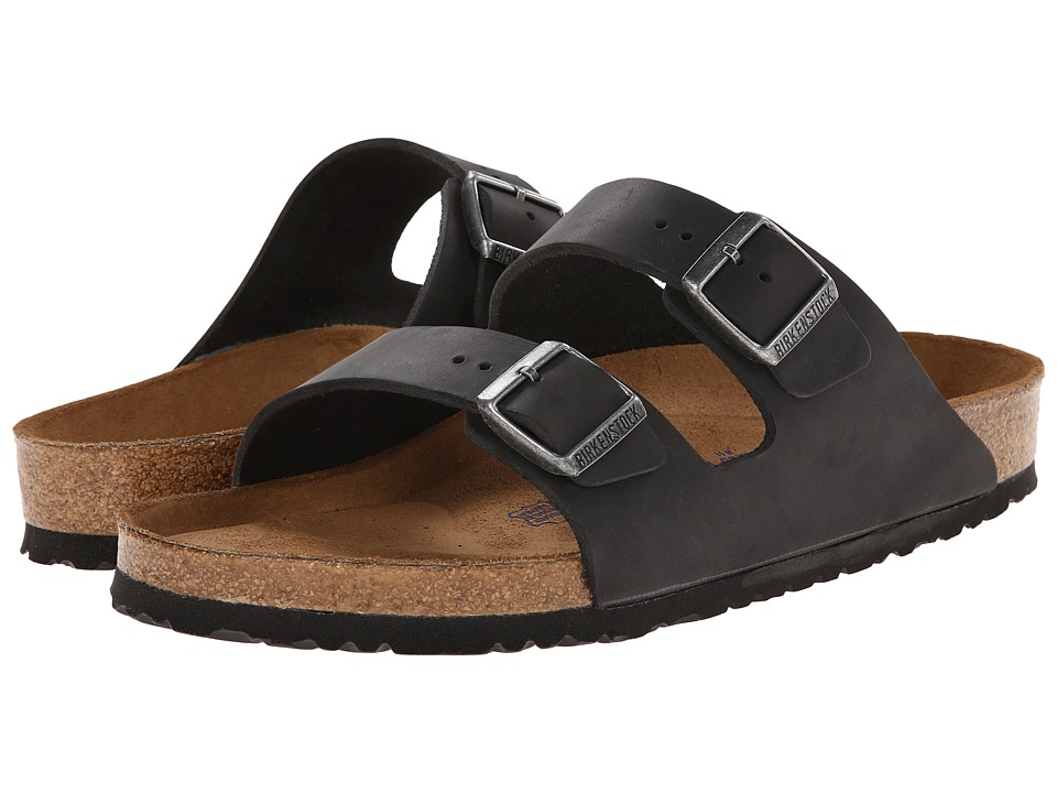 Birkenstock Arizona Soft Footbed - Leather (Unisex) (Blac...