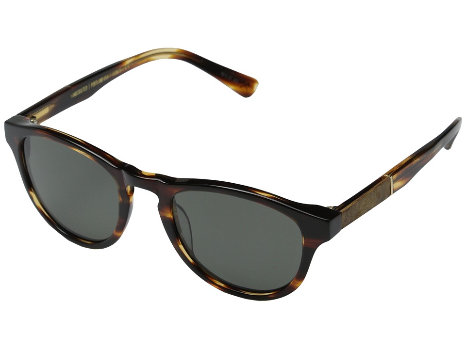 Shwood Francis Fifty Fifty Polarized Tortoise Shell/Maple Burl/Grey Polarized Fashion Sunglasses