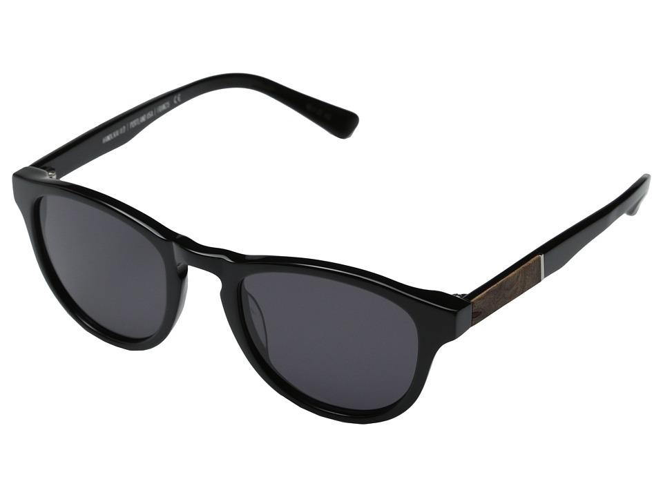 Shwood Francis Fifty Fifty Black/Elm Burl/Grey Fashion Sunglasses