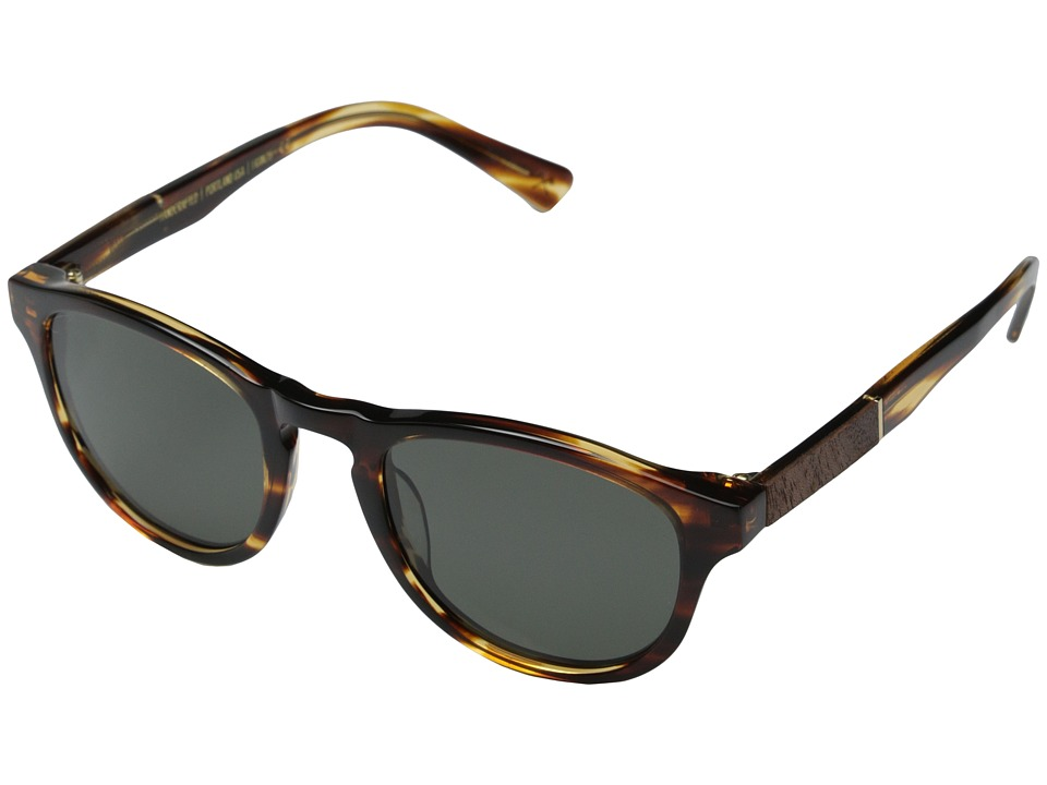 Shwood Francis Fifty Fifty Polarized Tortoise Shell/Mahogany Burl/Grey Polarized Fashion Sunglasses