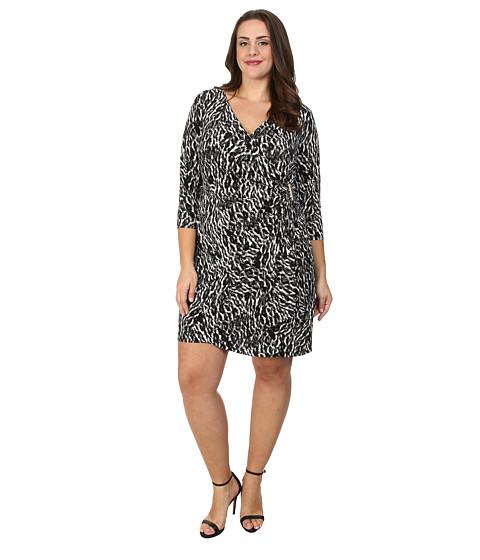 Calvin Klein Plus Plus Size Three-Quarter Sleeve Wrap Dress w/ Hardware (Birch Combo) Women's Dress