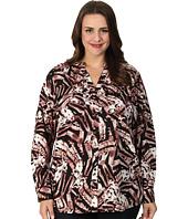 Calvin Klein Plus - Plus Size Print Crew Neck Roll Sleeve Blouse