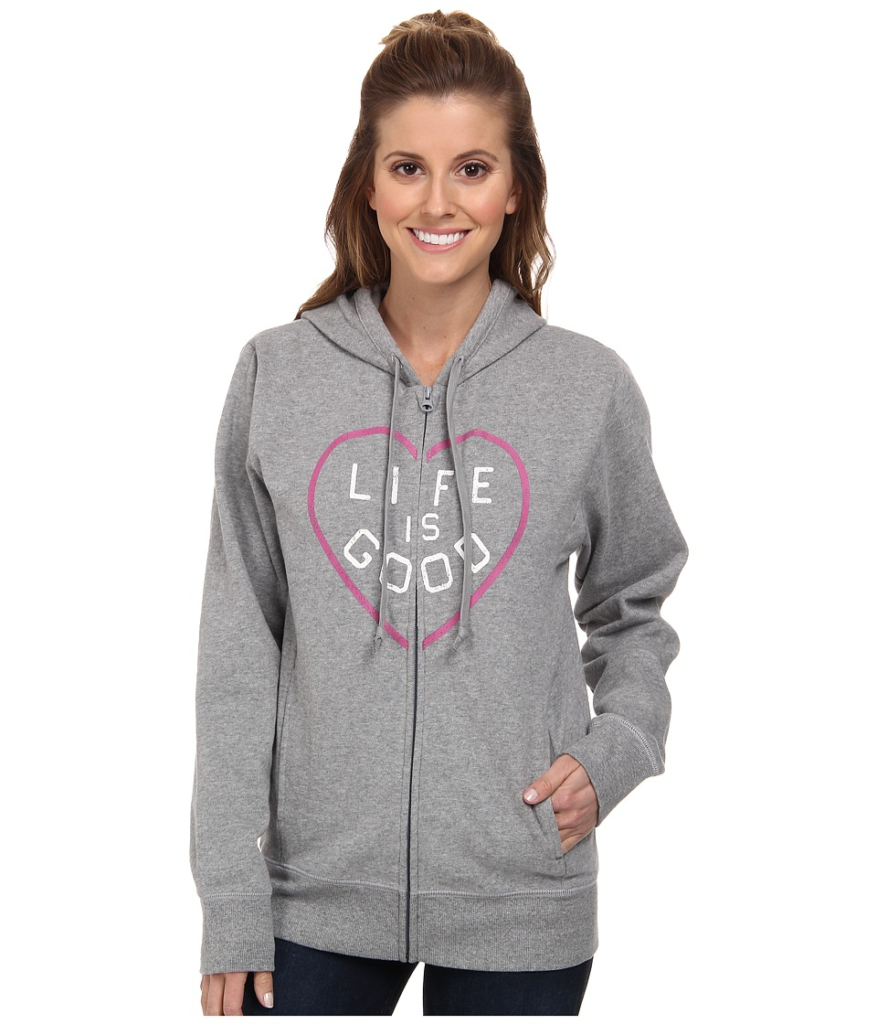 Life is good Go To Zip Hoodie Heather Grey Womens Sweatshirt