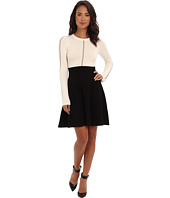 Eliza J - Long Sleeve Knit Fit & Flare Dress w/ Inset Waist