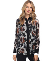 Vera Wang - Watercolor Rose Habotai Shirt w/ Black & White Double Cuff