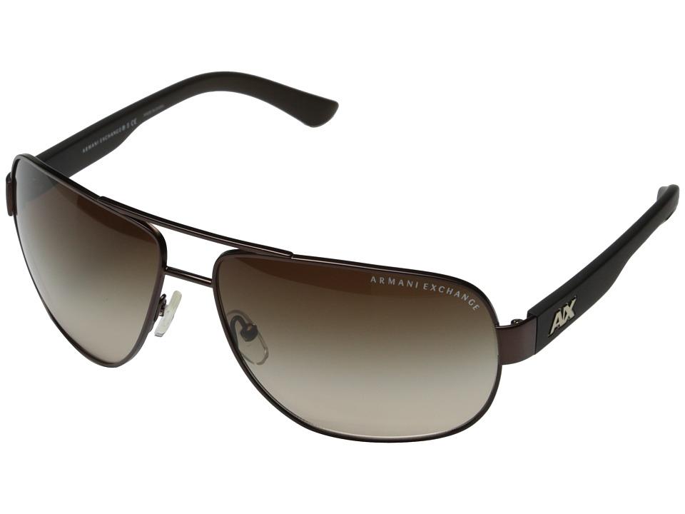 Image of AX Armani Exchange - 0AX2012S (Satin Dark Brown/Dark Olive) Fashion Sunglasses