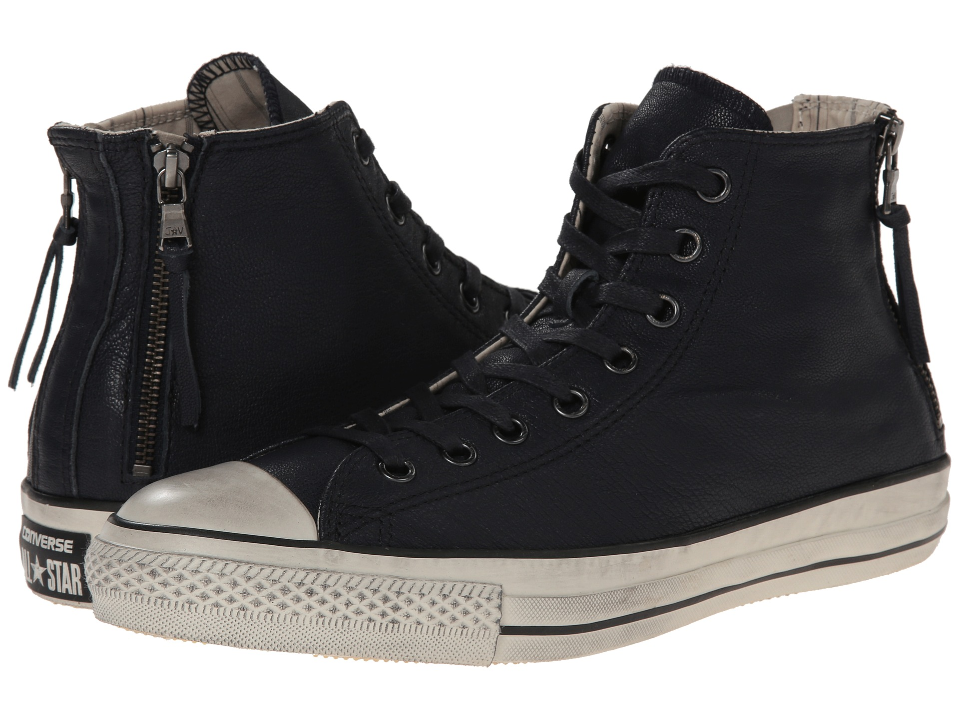 converse by john varvatos chuck taylor all star double heel zip quito leather dark navy toast. Black Bedroom Furniture Sets. Home Design Ideas