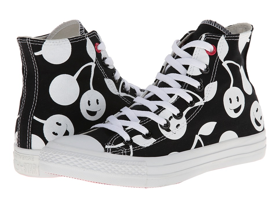 Converse - Chuck Taylor All Star Cherry Print Hi (Black/White) Women's  Shoes
