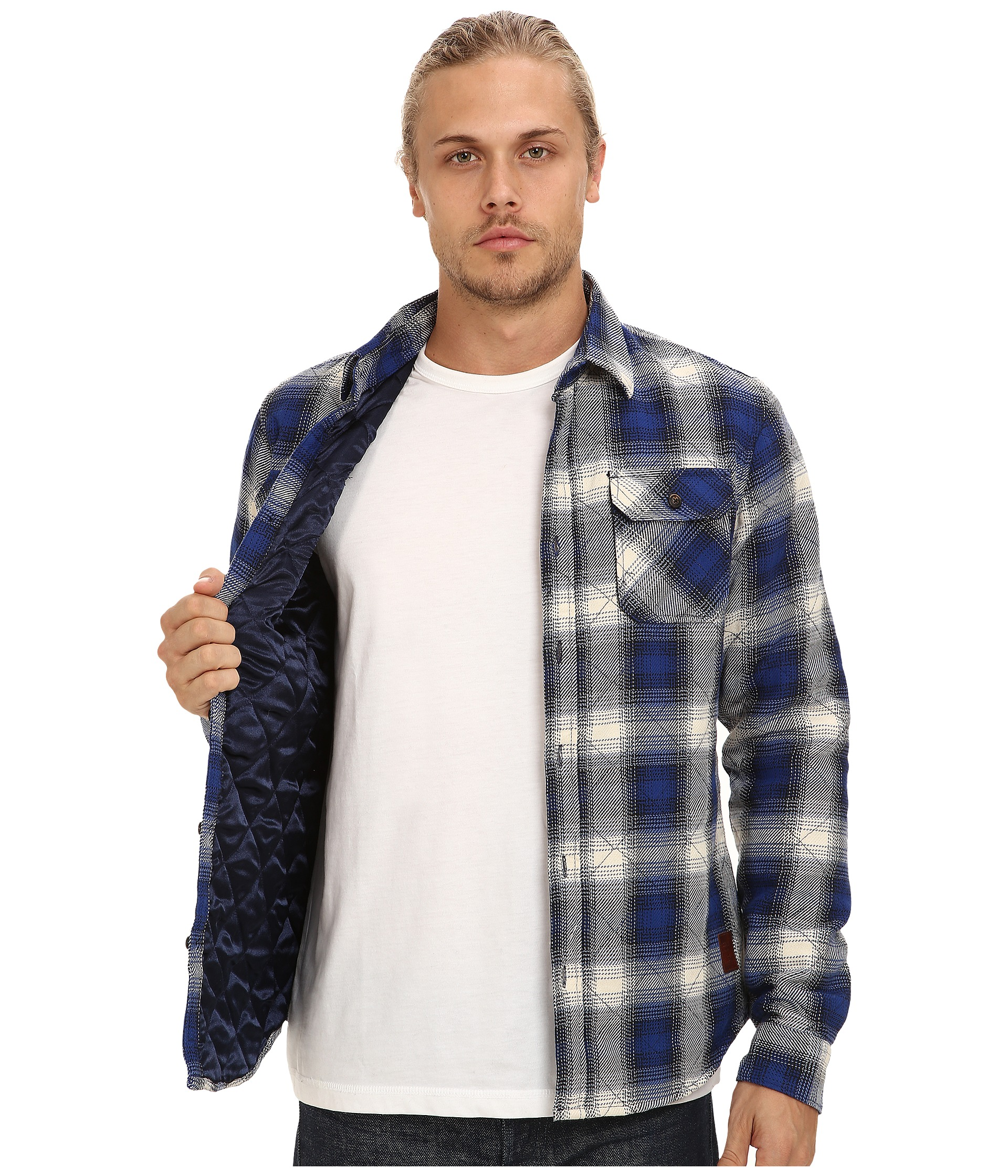 Scotch soda diamond quilted flannel shirt jacket clothing for Men flannel shirt jacket with quilted lining