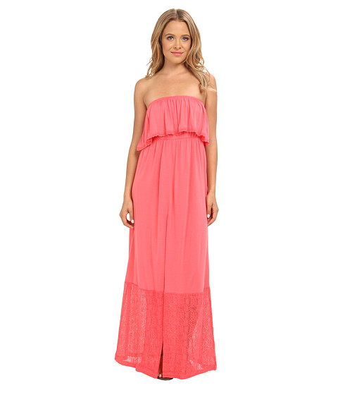 Shop Rip Curl online and buy Rip Curl Sweetest Thing Maxi Dress Coral Online - Rip Curl - Sweetest Thing Maxi Dress (Coral) - Apparel: Stroll the white sands of your favorite beach in this sensational Rip Curl Sweetest Thing Maxi Dress. ; Relaxed fit. ; Breezy viscose-blend fabrication offers a sweet feminine drape. ; Dress could easily double as a swim cover-up. ; Strapless design. ; Ruffle along top adds a flirty touch. ; Bottom half of dress features beautiful lace-like fabric. ; Straight hemline. ; 50% polyester, 50% viscose. ; Hand wash cold, line dry. ; Imported. Measurements: ; Length: 47 in ; Product measurements were taken using size SM. Please note that measurements may vary by size.