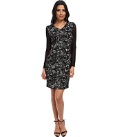 Marc New York by Andrew Marc - Long Mesh Sleeve Jacquard Sheeth Dress MD4JK475