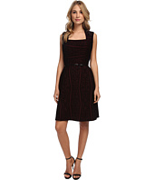 Marc New York by Andrew Marc - Envelope Neck Flocked Velvet Aline Dress MD4KK511