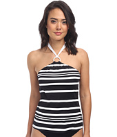 LAUREN by Ralph Lauren - Kaylee Stripe Hi-Neck Ring Halterkini w/ Soft Cup