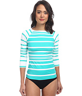 LAUREN by Ralph Lauren - Kaylee Stripe Boatneck Rashguard with 3/4 Sleeve