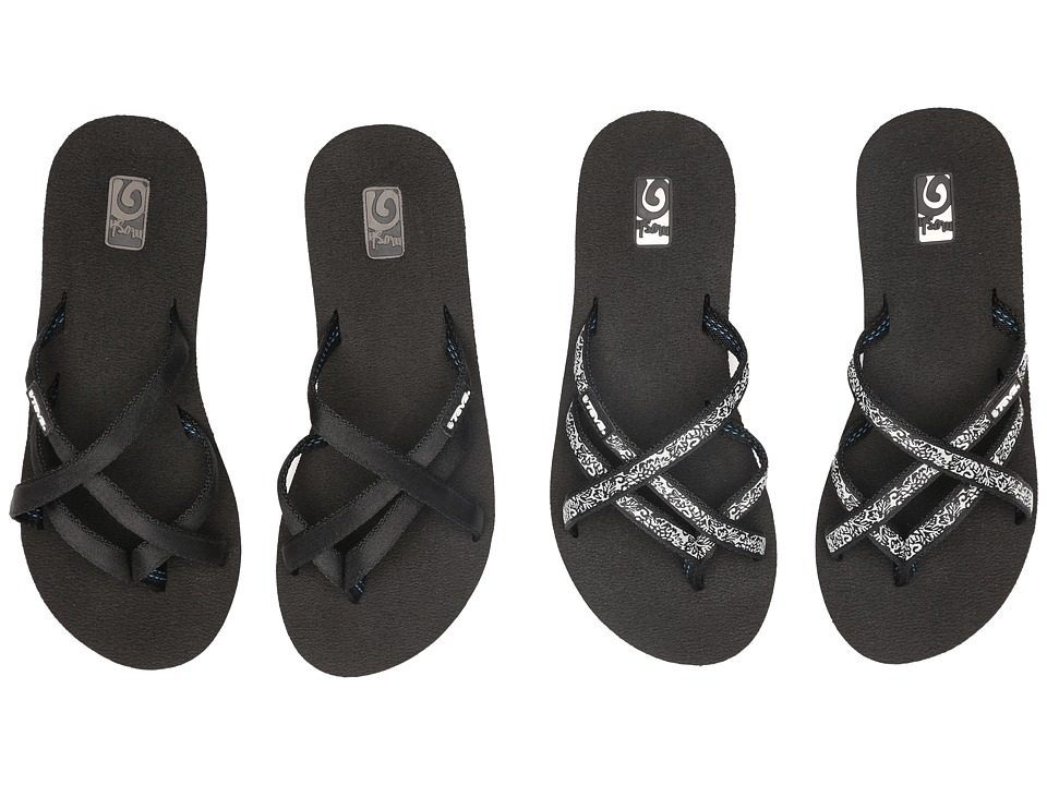 Teva Mandalyn Wedge Ola 2-Pack (Black/Fleur Black) Sandals