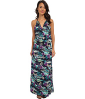 Tommy Bahama - Moorea Floral High Neck Long Dress w/ Shirred Elastic Waist Cover-Up