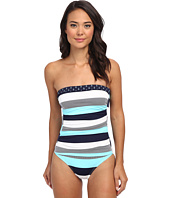 Tommy Bahama - Bold Stripe & Mini Anchor Shirred Bandeau Cup One-Piece