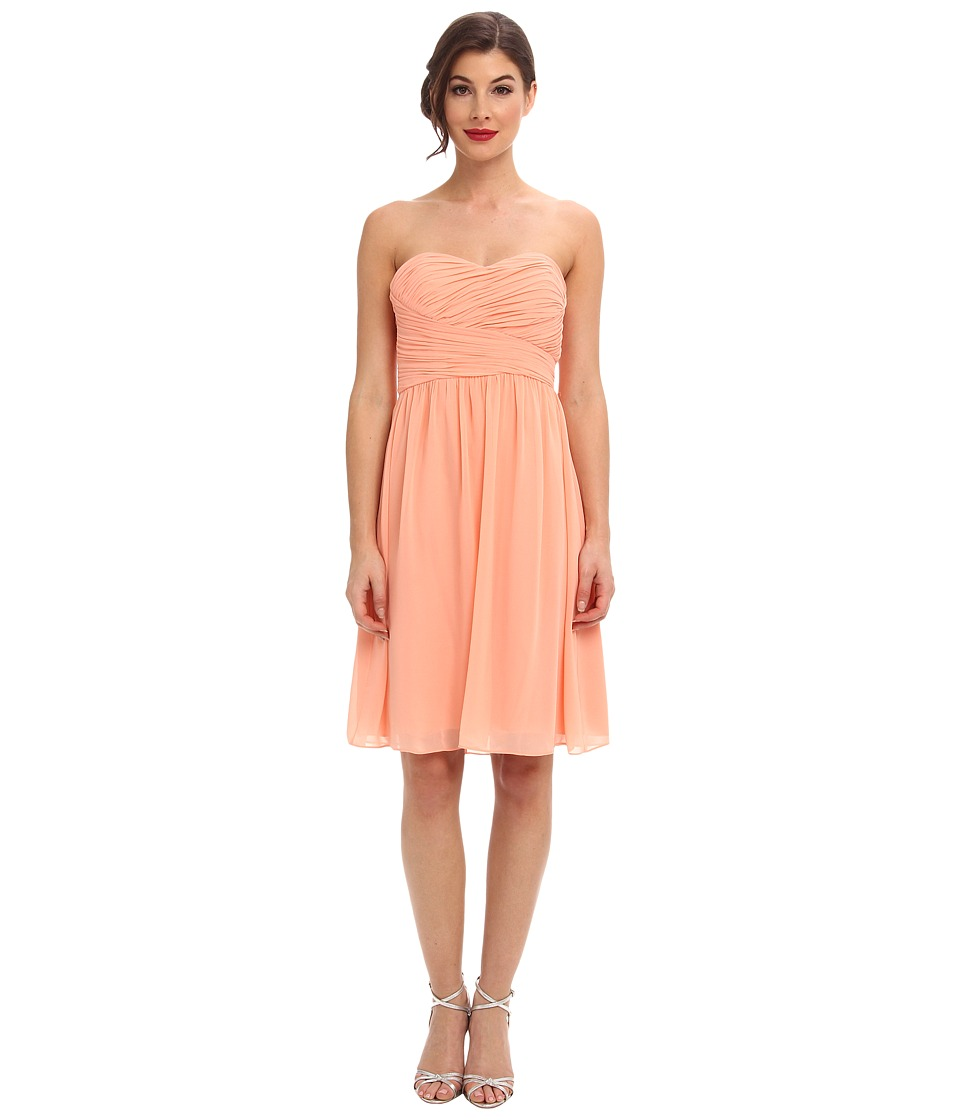 Donna Morgan Sarah Short Chiffon (Peach Fuzz) Women's Dress