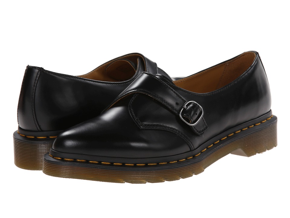 Dr. Martens Agnes Pointed Monk Black Polished Smooth Womens Slip on Shoes