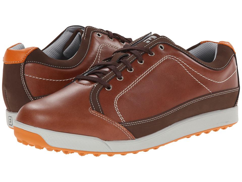 FootJoy Contour Casual Brown/Orange Trim Mens Golf Shoes