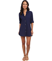 Tommy Bahama - Crinkle Cotton Boyfriend Shirt w/ Roll Up Sleeves Cover-Up