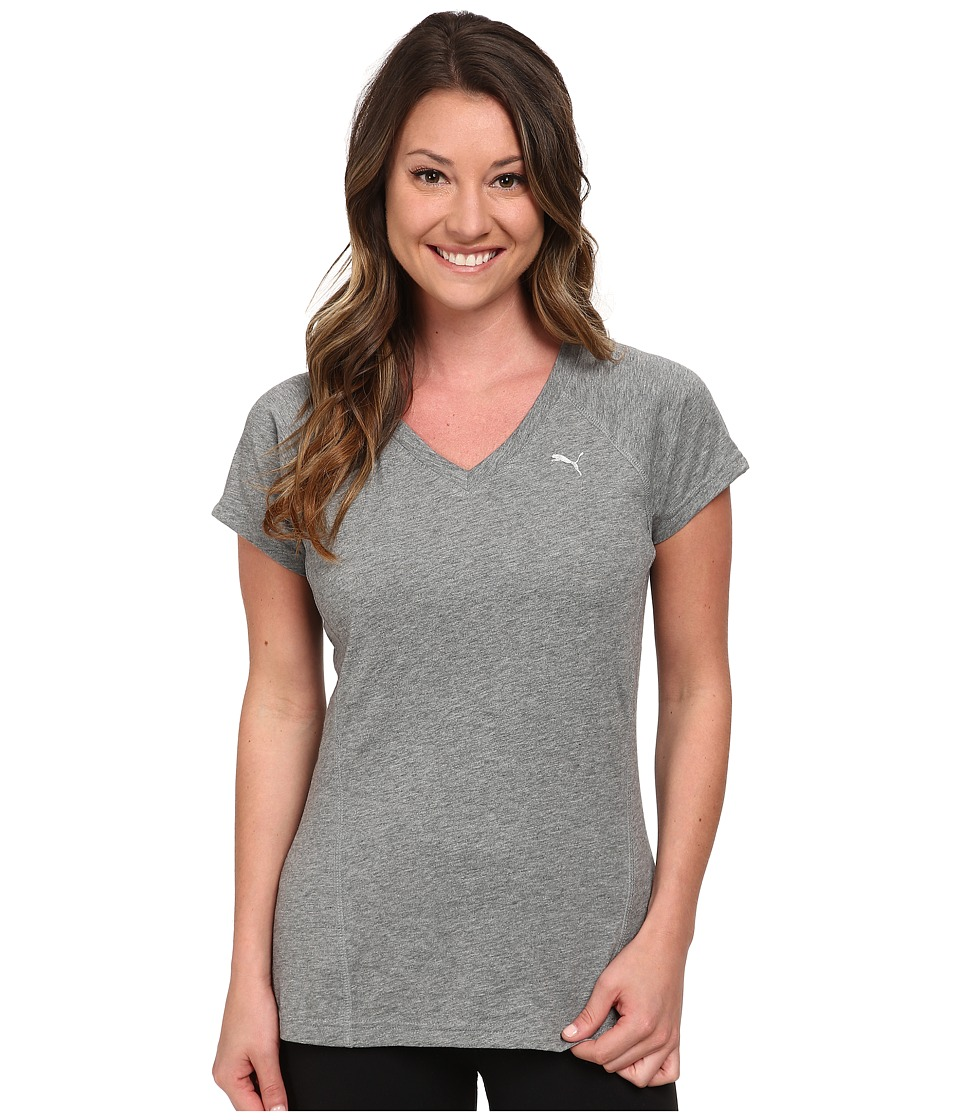 PUMA - V-Neck Multi Tee (Medium Gray Heather) Women