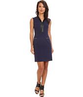 Marc New York by Andrew Marc - Deep V-Neck Cap Sleeve Zip Pocket Dress MD4X8395
