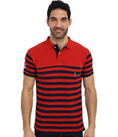 U.S. POLO ASSN. - Slim Fit Stripe Pique Pocket Polo w/ Solid Yoke
